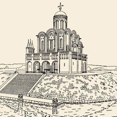 Вид храма Покрова на Нерли с гипотетическими открытыми галереями. Источник фото: lubovbezusl.ucoz.ru.